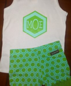 apple green and mint hexagon shirt