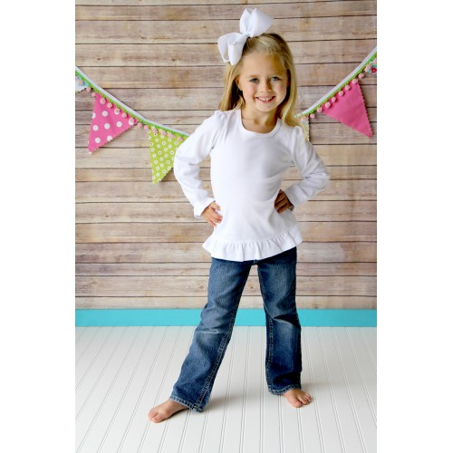 Girls Long Sleeve Ruffle Shirt