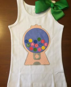 Gumball Machine shirt personalized with child's name.